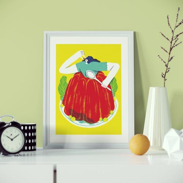 alice-piaggio-poster-fine-art-print-stampa-home-illustrazione-illustration-gift-casa-regalo-food-aspic-jelly-girl-2