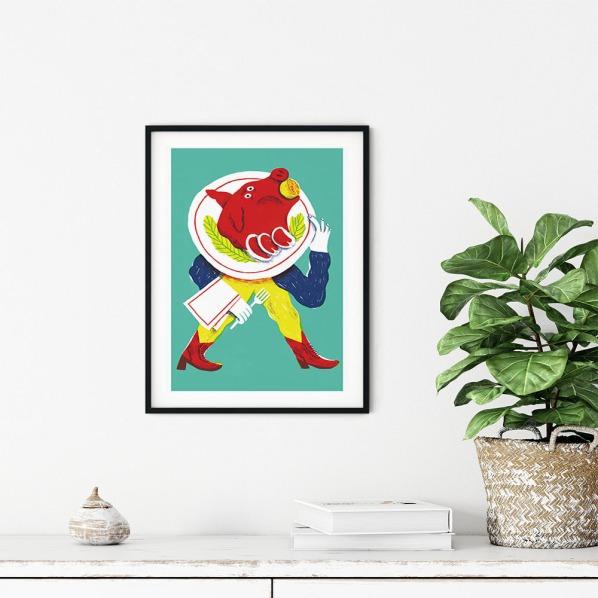alice-piaggio-poster-fine-art-print-stampa-home-illustrazione-illustration-gift-casa-regalo-food-pork-maiale_
